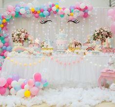 Unicorn Theme Birthday Party Dessert Table and Decor Unicorn Themed Birthday Party, Baby Girl Birthday, 2nd Birthday Parties, Unicorn Party, Baby Birthday, Girl Birthday Decorations, Birthday Backdrop, Unicorn Baby Shower, First Birthdays