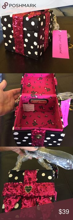"""Betsey Johnson Gift Box Sequin Crossbody Faux leather. Crossbody strap with 22"""" drop. Snap closure. Gold tone hardware with magenta sequin bow. Betsey Johnson Bags Crossbody Bags"""