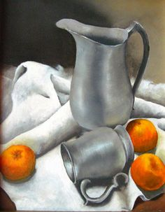 Still Life Painting Pewter Original Oil Painting by LyonsStudio, $79.00