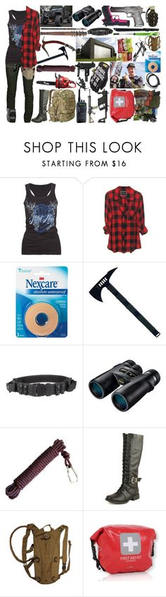 """apocalypse w/ jackson 'jacko' strong"" by silent-killer ❤ liked on Polyvore featuring Metal Mulisha, Beretta, Rogues Gallery, Nikon, EASTON, Gerber, DbDk, Ultimate, Warehouse and UZI"