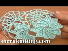 Here crochet spiral flower worked in rows, see more crochet tape tutorials on sheruknitting.com, tape lace crochet,, crochet 3D flower, floral crochet lace tape, crochet lace projects, free crochet lace pattern, learn how o crochet wide tape with spiral f