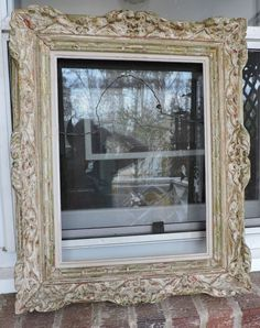 Vintage FRENCH Style Swept Carved WOOD Beige & GOLD Picture Frame c1950s 12 x 16 #French #unknown