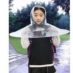 Summer Umbrella Toy Children Raincoat Rainy Cowled Head-Mounted Kid Transparent Poncho Male And Female Students Toys Gift