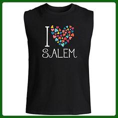 Idakoos - I love Salem colorful hearts - US Cities - Sleeveless T-Shirt - Cities countries flags shirts (*Amazon Partner-Link)
