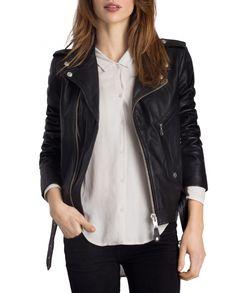 Nouveau Maddie motardes femme Fashion Designer Casual Style Noir Nappa Veste en cuir