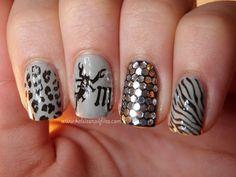 China Glaze Pelican Gray, Jordana Black, and stamped with BM-223 (zebra), Mash-34 (Scorpio M), Mash-35 (scorpion), and Mash-40 (leopard).