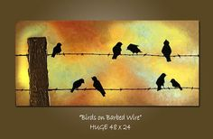 """""""Birds on Barbed Wire"""" Original Art Painting by Shanna"""