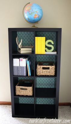 Our Blue Front Door: Adding fabric backing to an IKEA Expedit Bookcase