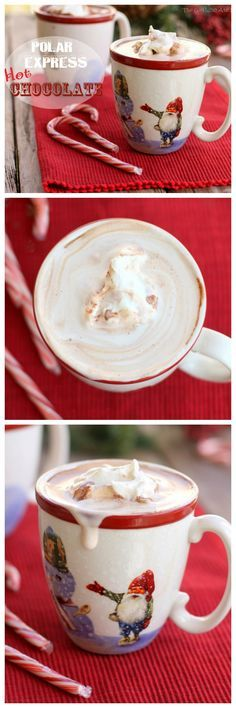 Polar Express Hot Chocolate - frothy and decadent hot chocolate perfect for cuddling up with. the-girl-who-ate-everything.com