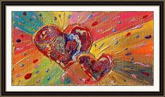 Love Hearts Art Abstract Print Valentines Day by JuliaApostolova