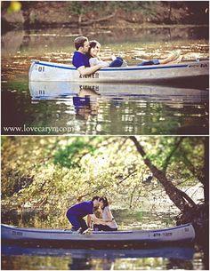 Cute Canoe Engagement Photos