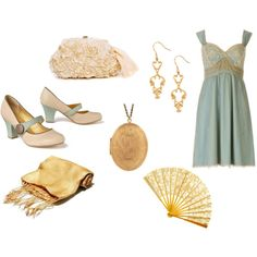 Blue slip dress with gold and white