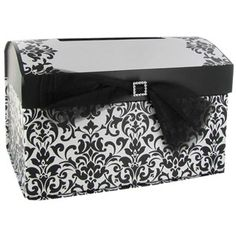 Collect envelopes, cards, and monetary gifts presented at weddings with this elegant Black & White Wedding Card Box. The sturdy and durable box features a g Tiffany Wedding, Card Box Wedding, Black Decor, Here Comes The Bride, Romantic Weddings, Love And Marriage, Wedding Inspiration, Wedding Ideas, Wedding Planning