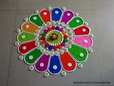 Diwali special quick and easy rangoli design | Rangoli by Poonam Borkar - YouTube