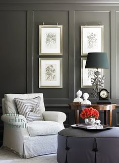 Love the paneled wall and ottoman.  Amy D. Morris