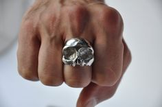 Chunky Half Skull Silver Ring by Thenineofhearts on Etsy