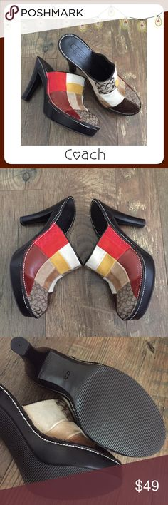 """⚪️ BOGO 1/2 OFF Coach Logo Patchwork Heeled Mules Brown leather multicolor logo patchwork heeled mules...soft, comfortable leather Brand: Coach Size: 7B Measurements: heel - 4.5""""; platform - 1"""" Condition: brand new, only tried on - no box Coach Shoes Heels"""