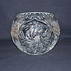Polish Cut Crystal Pinwheel Rose Bowl