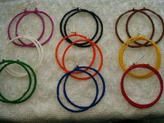 Large  Handmade Crochet  Hoop Earring 65mm   Various Colour  Choose #Handmade