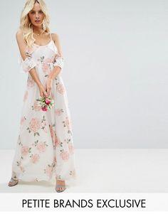 ASOS - John Zack Petite John Zack Petite Allover Rose Floral Cold Shoulder Maxi Dress - Multi - AdoreWe.com