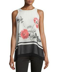 Floral-Print Trapeze Shirt, White Pattern