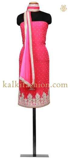 Buy it now http://www.kalkifashion.com/unstitched-suit-in-pink-with-resham-and-pearl-work.html Unstitched Suit in pink with resham and pearl work