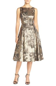 Aidan Mattox Floral Metallic Jacquard Fit & Flare Dress available at…