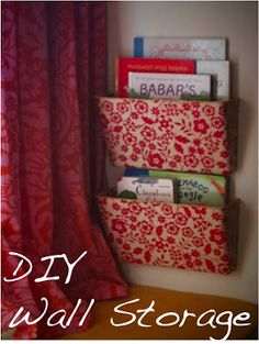 I made some very low cost, easy DIY wall storage using wrapping paper, Mod Podge, and wall mounted plastic file holders. Wall File Organizer, Wall File Holder, Folder Organization, Paper Organization, Office Organization, Organization Ideas, Wall Storage, Craft Storage, Storage Ideas