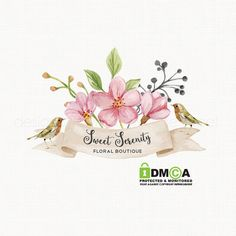 Premade Watercolor Flower Logo with Birds by stylemesweetdesign
