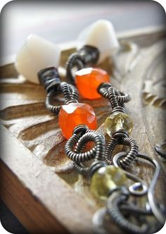 Slow Burn - opal, carnelian, lemon quartz, and wire wrapped sterling silver. By realisationcreations on Etsy.