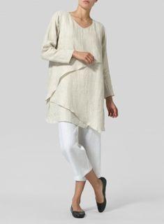 bb026f67c2cb3 Oat Linen Layering V-neck Tunic Linen Dresses