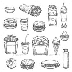 Vector Sketch Isolated Fast Food #Icons - #Food Objects Download here: https://graphicriver.net/item/vector-sketch-isolated-fast-food-icons/20408731?ref=alena994