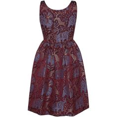 Vivetta Cotton Linen Blend Wild Printed Stendhal Dress (2.195 BRL) ❤ liked on Polyvore featuring dresses, purple print dress, cotton fit and flare dress, retro dress, purple retro dress and vivetta