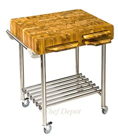 teak butcher block cart with pull out cutting boards