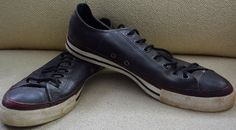 VINTAGE! CONVERSE ONE STAR Tennis Shoes Sneakers Mens 11 Womens 13 LEATHER Black #ConverseOneStar #TennisShoes