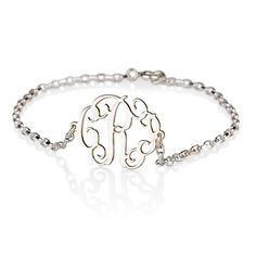 Monogram Bracelet On Sterling Silver 925 Monogrammed Initials Customized Name Personalized Letters Jewelry Custom Made 0.6'' Free Shipping. $34.99, via Etsy.