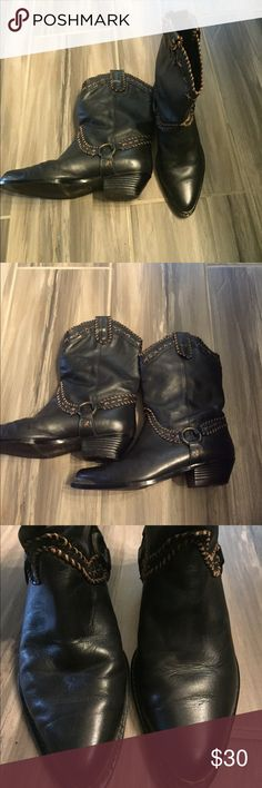 Black Cowboy Boots In great condition. Only worn 3 times. Super comfy on the inside. Women's size 6 Genuine Leather Upper Shoes Heeled Boots