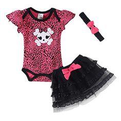 LittleSpring Baby Girls' Clothing Set Skull Size 9M US Skull - Brought to you by Avarsha.com