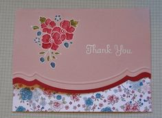 "sweet handmade ""Thank-you"" card ... like the use of the border die ... Bordering on Romance image embossed in white and colored with blender pen and reinkers right on the pink paper ... Stampin' Up!"