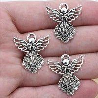 Kup si 12pcs 27*24 mm Wholesale Antique Silver Wing Guardian Angel Charms Beads Pendants for Jewelry Making DIY Handmade Bracelet Necklace za Wish - Nakupování je zábava