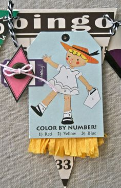 Bingo Craft Cards as a banner! Decorated with Tinted Tape and Party Games.