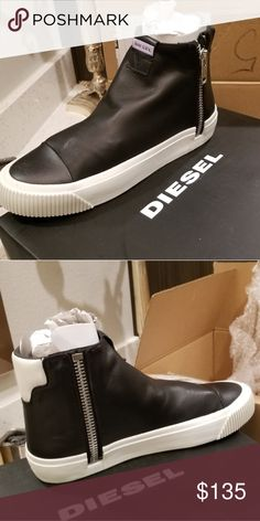 Mens Diesel high top sneakers New in box blk white with silver hardware  zipper Diesel Shoes Sneakers 8e47a90f9f0