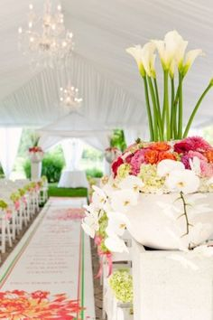 Large and Colorful Urn Ceremony Design. Photography by Studio 6.23. Floral and Decor by Modern Day Floral and Events.