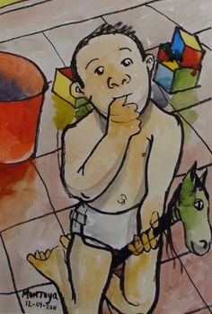 Bebé jugando a caballito. Exposición Museo Arte Moderno de Mazatlán, Sinaloa, México, Noviembre 2011. Juan Montoya López