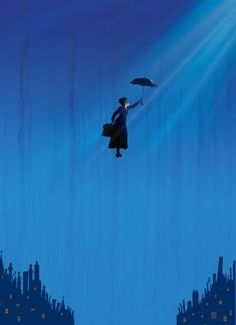Into the blue night like Mary Poppins