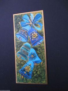 # J217- Vintage Mid Century Glittered Blue Holiday Bells Christmas Greeting Card