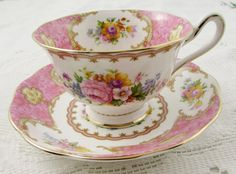 "Royal Albert ""Lady Carlyle"" Tea Cup and Saucer, Pink Tea Cup, Vintage, English Bone China"