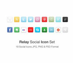 Today's post is a new social icon set the Relay Social Icon Set includes 18 icons in JPG PNG & PSD format.The social icons included are Mail, Rss, 2 Twitter icons, Dribbble, Pinterest, StumbleUpon Vimeo, Facebook, Forrst, zerply, Skype, flickr, Digg, Google+, Last fm, Evernote and LinkedIn.Included in the Zip is all 18 icons in JPG & PNG format at a size of 32px x 32px.Also included is the original PSD file for the Relay Social Icon Set.