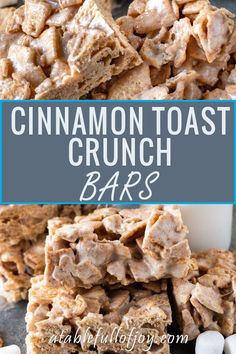 Cinnamon Toast Crunch Bars, a delicious spin on the classic rice crispy! Cinnamon Toast Crunch Bars, a delicious spin on the classic rice crispy! Vegan Rice Crispy Treats, Rice Krispy Treats Recipe, Rice Krispie Treats, Rice Crispy Bars, Blueberry Turnovers, Köstliche Desserts, Delicious Desserts, Dessert Recipes, Yummy Food