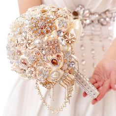 Origami Flower Bouquet 2015 Hot Sale Wedding Bridal Bouquets Crystal Pearls Wedding Supplies With Handmade Satin Rose Rhinestone Bride Holding Brooch Bouquet Spring Wedding Flowers From Manweisi, $149.74| Dhgate.Com